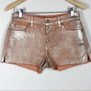 7 For All Mankind Peach/Gold Foil Denim Shorts